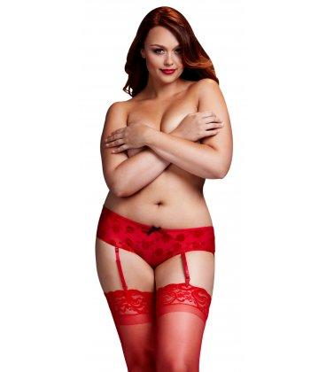 Baci - Red Rose Open Crotch Boyshort Panty
