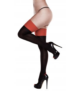 Baci - Black Opaque Red Cuban Heel Thigh Highs